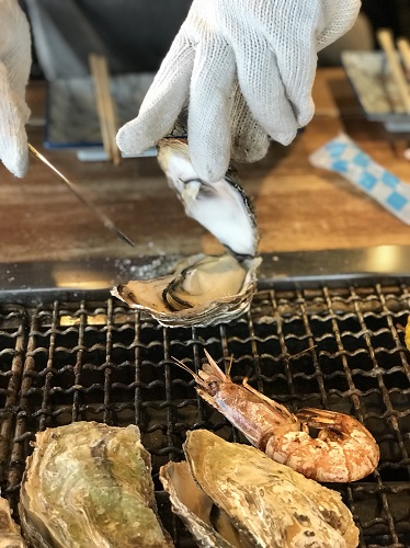 牡蠣の浜焼き 能登食祭市場