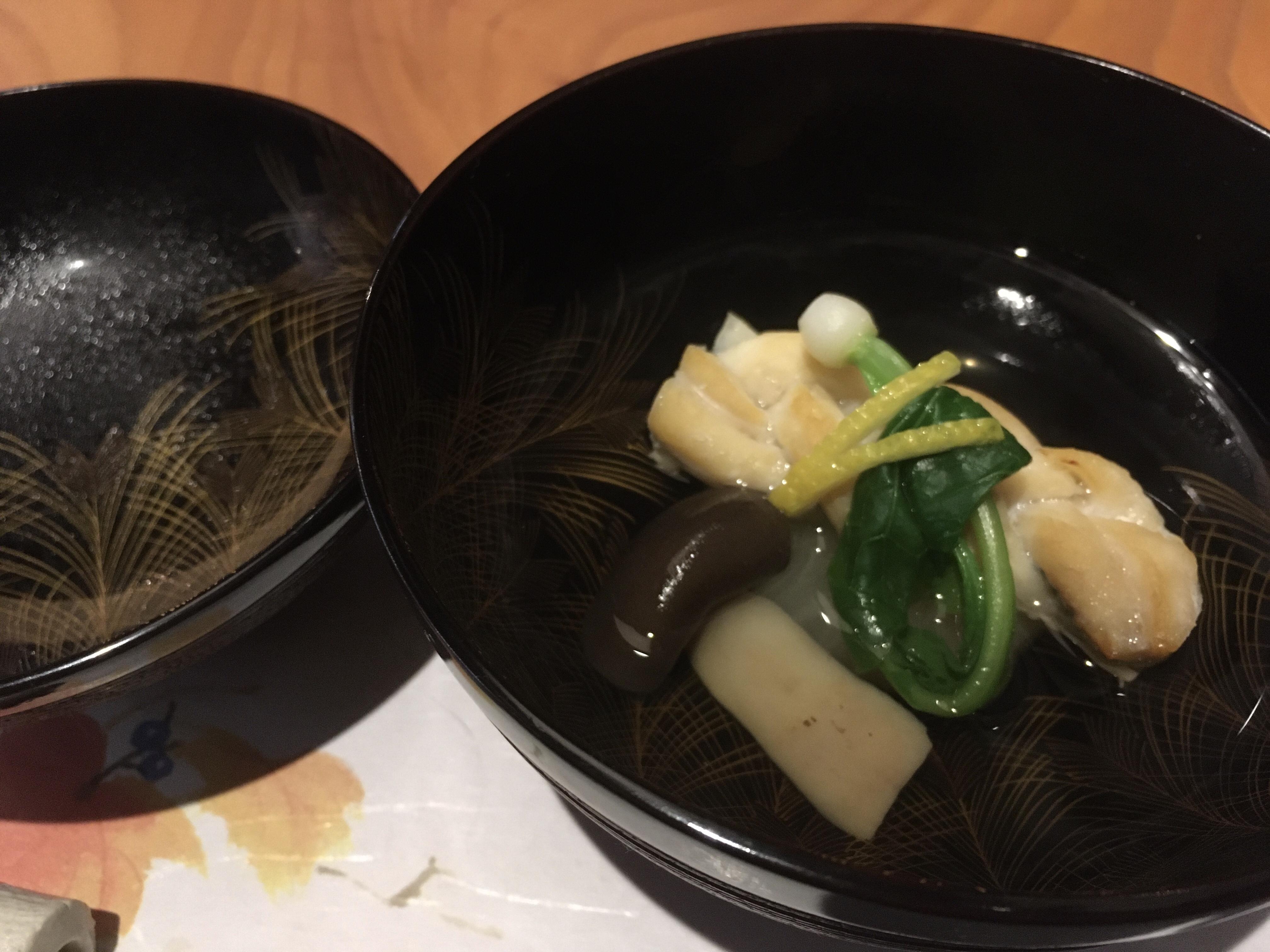 美和食額・美コース 太刀魚と蕪の清汁仕立て