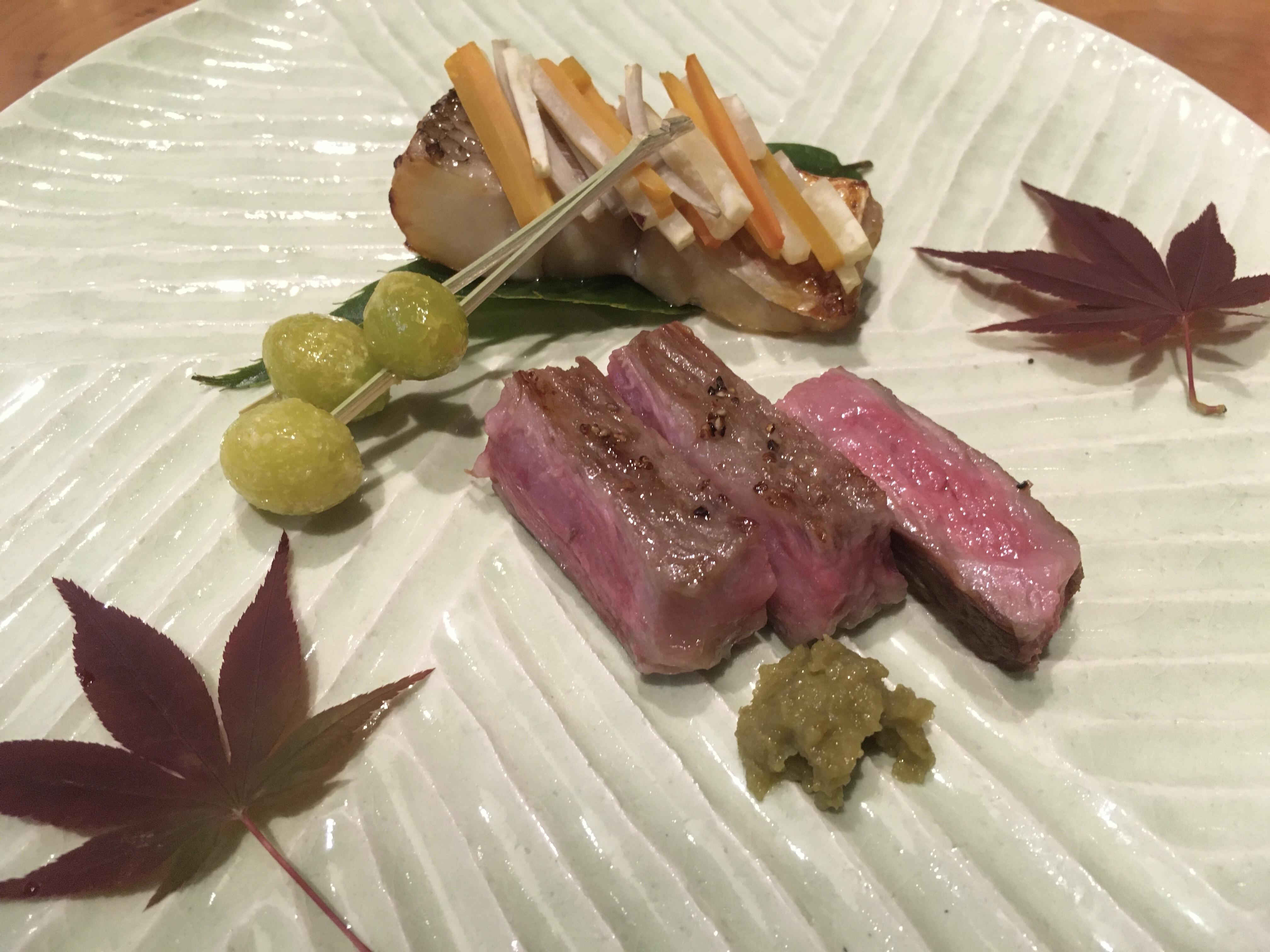 美和食額・美コース 甘鯛柴焼き 和牛サーロインステーキ